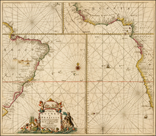 Atlantic Ocean, South America, Brazil, South Africa and West Africa Map By Johannes Van Keulen