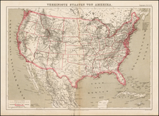 United States Map By Friedrich Arnold Brockhaus
