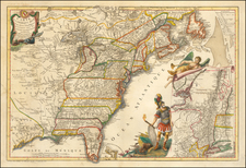 United States, New England, Mid-Atlantic, Southeast, Midwest and North America Map By Jean de Beaurain