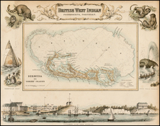 Atlantic Ocean, Caribbean and Bermuda Map By Archibald Fullarton