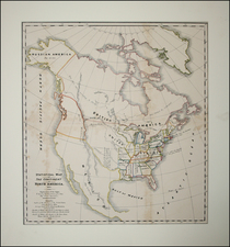 United States and North America Map By Alexis De Tocqueville