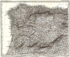 Europe and Spain Map By Adolf Stieler