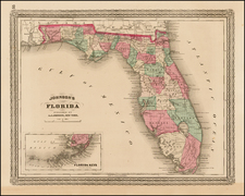 Florida Map By Benjamin P Ward  &  Alvin Jewett Johnson