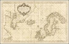 Polar Maps, Atlantic Ocean, Canada and Scandinavia Map By Jacques Nicolas Bellin