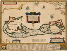 Atlantic Ocean, Caribbean and Bermuda Map By John Speed