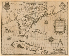 Florida, South, Southeast, Midwest and Caribbean Map By Jacques Le Moyne