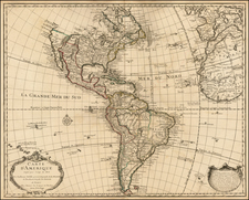 South America and America Map By Guillaume De L'Isle