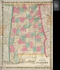 Alabama Map By G.W.  & C.B. Colton