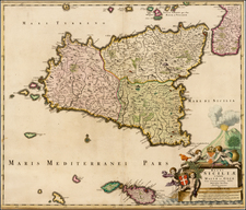 Italy and Balearic Islands Map By Johannes De Ram