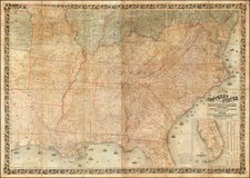 South, Southeast and Plains Map By Joseph Hutchins Colton