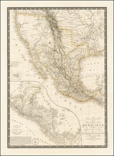 Texas, Southwest, Rocky Mountains, Mexico, Baja California and California Map By Adrien-Hubert Brué