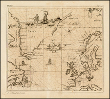 Polar Maps, Atlantic Ocean, Canada, British Isles, Scandinavia and Balearic Islands Map By Johann Wolfgang Heydt