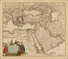 Balkans, Turkey, Middle East, Turkey & Asia Minor and Egypt Map By Justus Danckerts