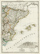 Europe, Spain and Balearic Islands Map By Conrad Malte-Brun