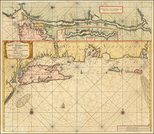 New England, Connecticut, Massachusetts, Rhode Island, New York City and New York State Map By Johannes Van Keulen