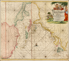 United States, New England, Mid-Atlantic, Florida, South, Southeast, North America, Canada, Caribbean, Central America and South America Map By Johannes Van Keulen