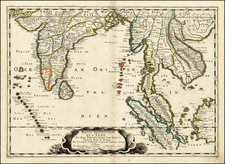 Indian Ocean, India and Southeast Asia Map By Nicolas Sanson
