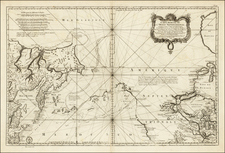 Polar Maps, Pacific Northwest, Alaska, Canada, Pacific and Russia in Asia Map By Jacques Nicolas Bellin