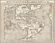 Western Hemisphere, North America, South America and America Map By Sebastian Munster