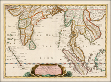 India and Southeast Asia Map By Nicolas Sanson