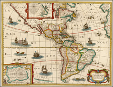 South America and America Map By Melchior Tavernier / Petrus Bertius
