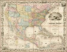 Colton's Map of the United States of America, The British Provinces, Mexico, The West Indies and Central America  . . . 1856 [Folding Map with original slip case] By Joseph Hutchins Colton