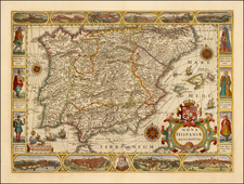 Spain and Portugal Map By Jodocus Hondius