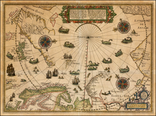 Northern Hemisphere, Polar Maps, Atlantic Ocean, Russia, Baltic Countries, Scandinavia, Iceland and Russia in Asia Map By Willem Barentsz