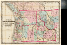 Rocky Mountains, Idaho, Montana, Pacific Northwest, Oregon and Canada Map By A.L. Bancroft & Co.