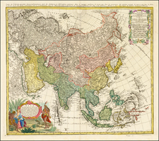 Asia and Asia Map By Homann Heirs / Johann Matthaus Haas