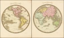 World, World, Eastern Hemisphere and Western Hemisphere Map By David Hugh Burr