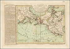 Polar Maps, Alaska, Pacific, Russia in Asia and California Map By Philippe Buache / Jean-Claude Dezauche