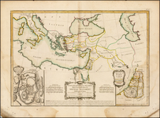 Mediterranean, Middle East, Holy Land and Turkey & Asia Minor Map By Jean Janvier