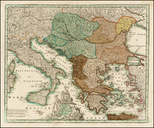 Balkans, Greece and Turkey Map By Johann Christoph Weigel