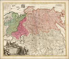 Russia, Central Asia & Caucasus and Russia in Asia Map By Johann Baptist Homann