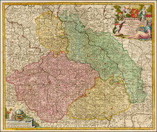 Poland and Czech Republic & Slovakia Map By Nicolaes Visscher I