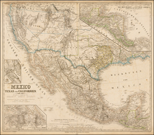 Texas, Plains, Southwest, Rocky Mountains, Mexico, Baja California and California Map By Heinrich Kiepert