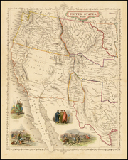Texas, Plains, Southwest, Rocky Mountains and California Map By Alfred Adlard