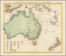 Australia and New Zealand Map By Adolf Stieler