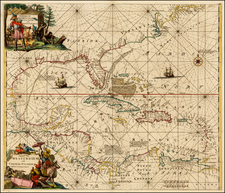 Florida, South, Southeast, Caribbean and Central America Map By Louis Renard