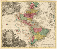 South America and America Map By Matthaus Seutter / Johann Michael Probst
