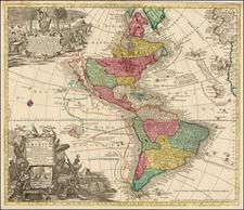 South America and America Map By Matthaus Seutter / Johann Michael Probst