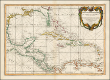 South, Mexico, Caribbean and Central America Map By Giovanni Antonio Rizzi-Zannoni