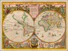 World and World Map By Jodocus Hondius / Franciscus Hoeius