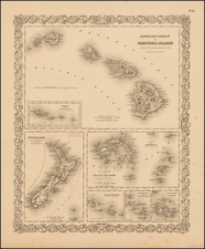 Hawaii, New Zealand, Hawaii and Other Pacific Islands Map By G.W.  & C.B. Colton