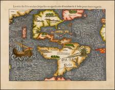 World, Western Hemisphere, North America, South America, Japan, Pacific and America Map By Sebastian Munster