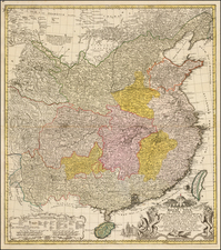 China, Central Asia & Caucasus and Russia in Asia Map By Johann Matthaus Haas