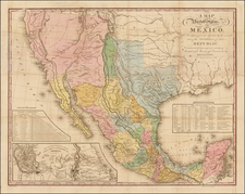 Texas, Plains, Southwest, Rocky Mountains, Mexico and California Map By Henry Schenk Tanner