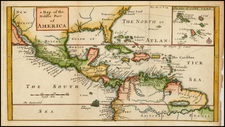 Florida, South, Southeast, Caribbean and Central America Map By Herman Moll / William Dampier