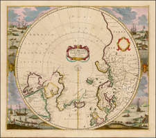 Northern Hemisphere, Polar Maps and Canada Map By Henricus Hondius